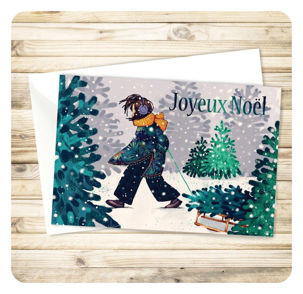 """""""Joyeux Noël"""" carte de voeux 10x15cm."""
