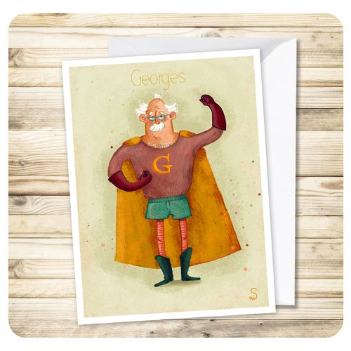 "Carte superpapy ""george"" + enveloppe"