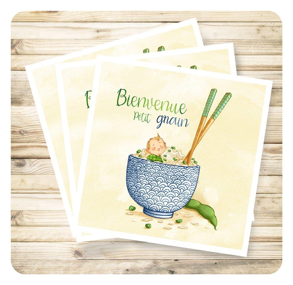 """Carte de voeux naissance """"Bienvenue petit grain"""" et son enveloppe."""
