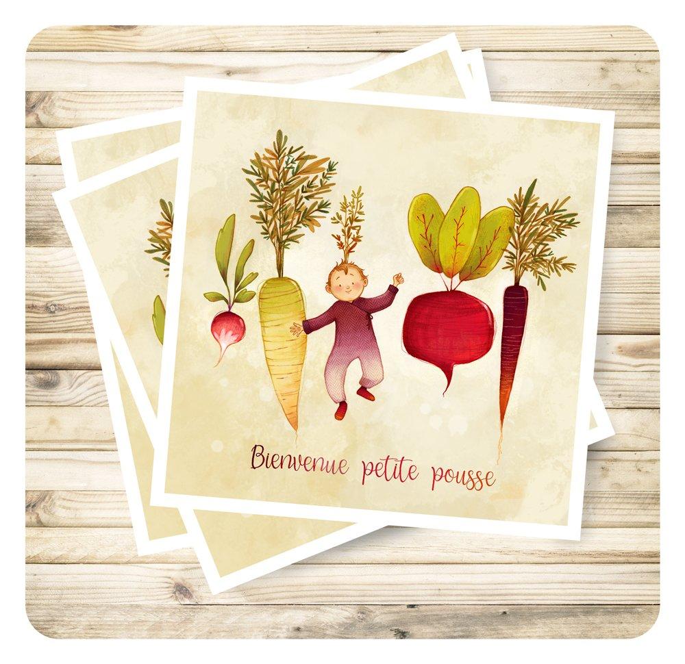 """Carte de voeux naissance """"Bienvenue petite pousse"""" et son enveloppe."""
