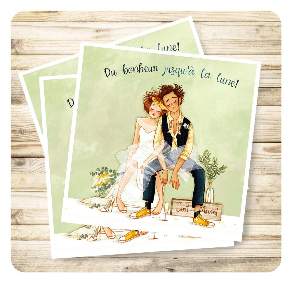 """Carte de voeux mariage """"Du bonheur jusqu'à la lune"""" et son enveloppe."""