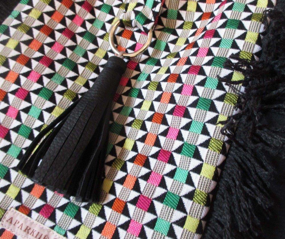 Sac Cabas  Tissage multicolor /Noir