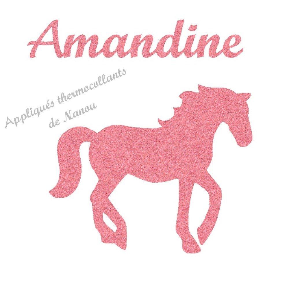 Appliqué thermocollant  cheval prénom fille en flex pailleté ou velours
