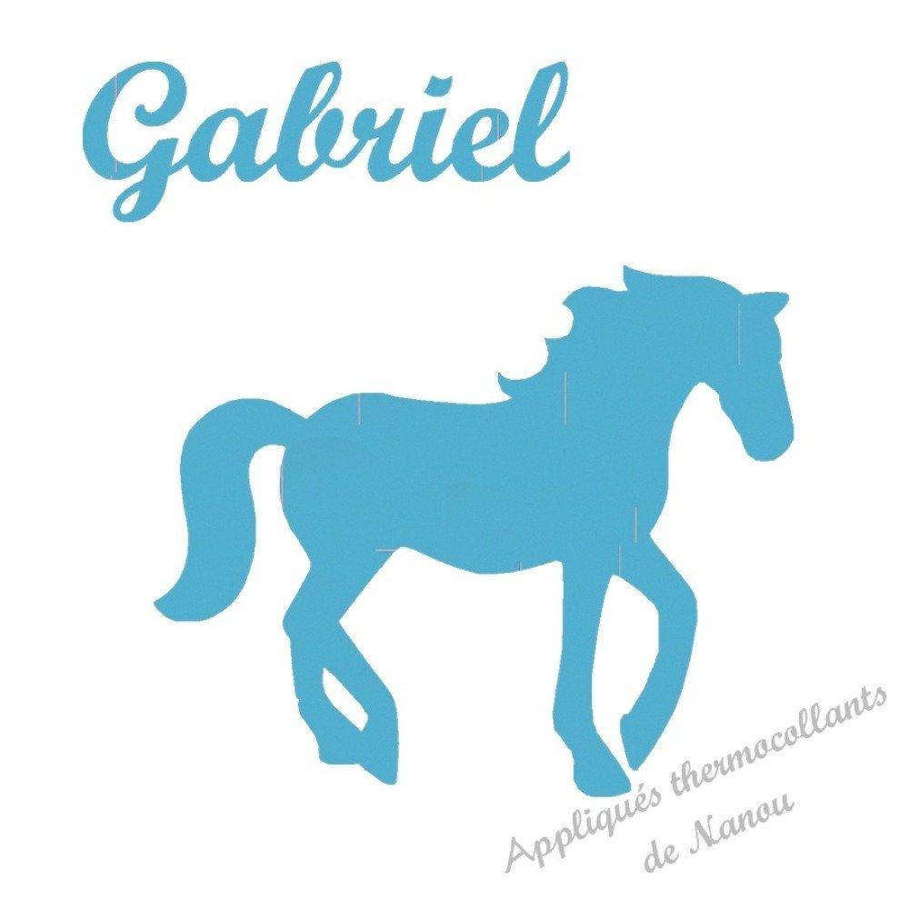 Appliqué thermocollant  cheval prénom fille en flex velours ou pailleté