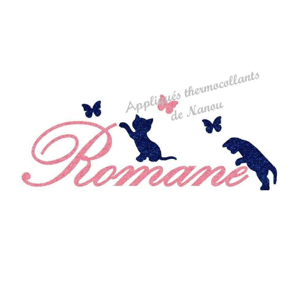 Appliqué thermocollant  prénom garçon 2 chats en flex pailleté