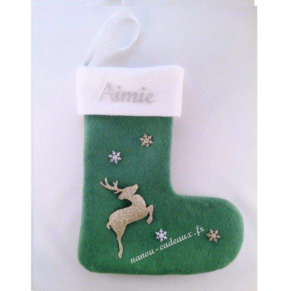 Botte chaussette verte renne de Noël personnalisé avec prénom