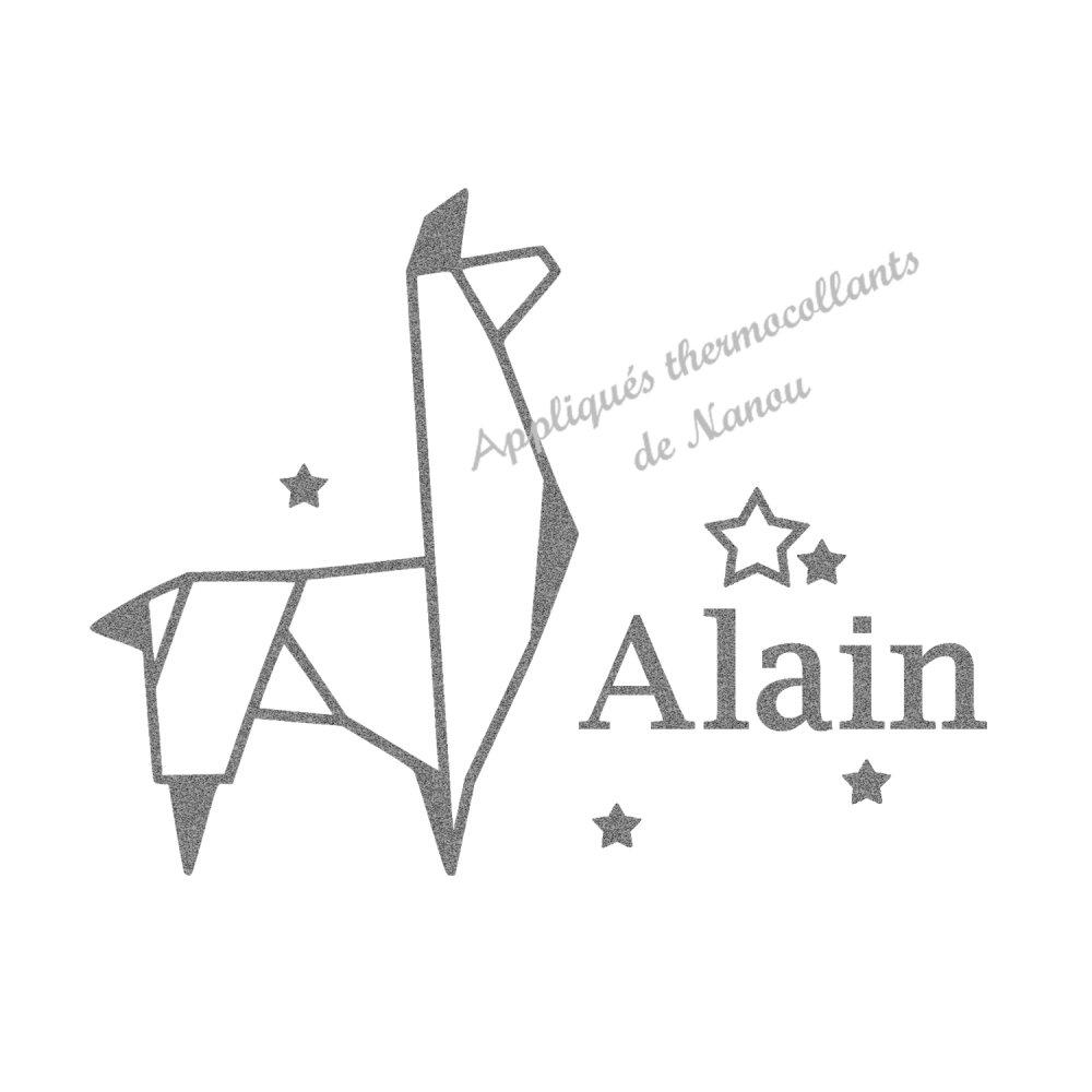 Appliqué thermocollant personnalisé velours origami lama