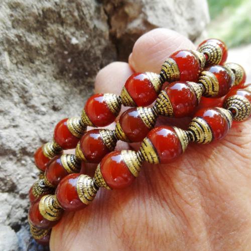 Perle népalaise cornaline laiton