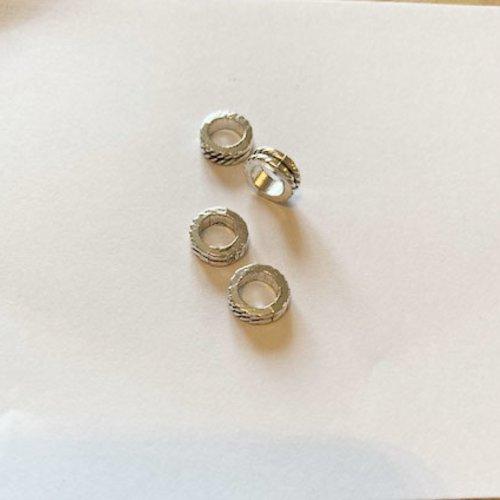 8 perles rondelles style antique