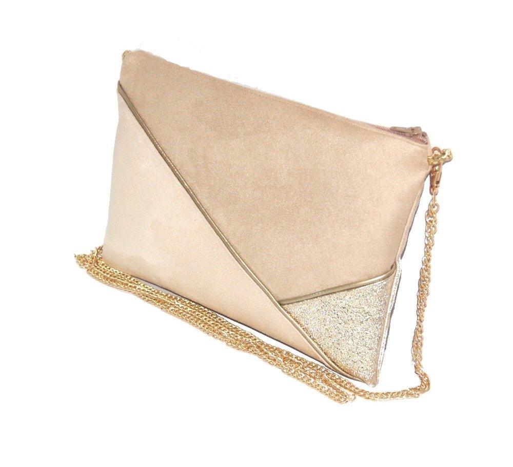 Pochette mariage, pochette soirée, sac suédine beige, sable, simili cuir paillettes dorées - Après la Plage