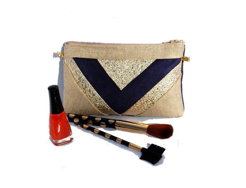 Pochette mariage soirée mini sac lin doré, suédine bleu marine et paillettes or Porte monnaie Trousse maquillage -Après la Plage