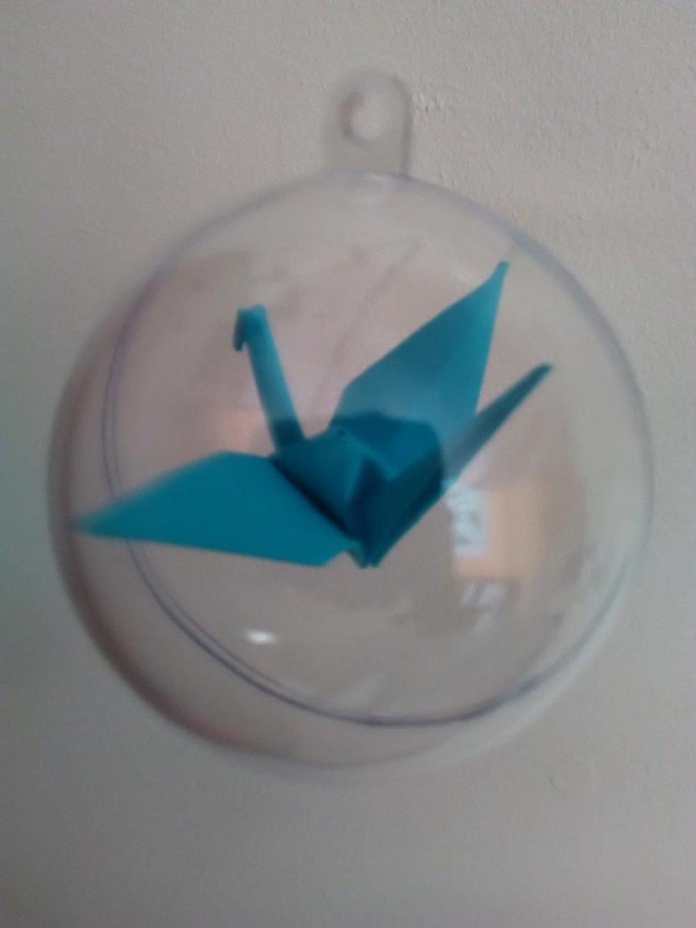 Boule origami grue bleue décoration noël ou autres
