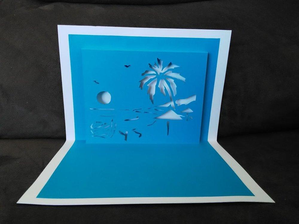 Carte en 3D kirigami Pop Up Vacances Palmiers Soleil Anniversaire
