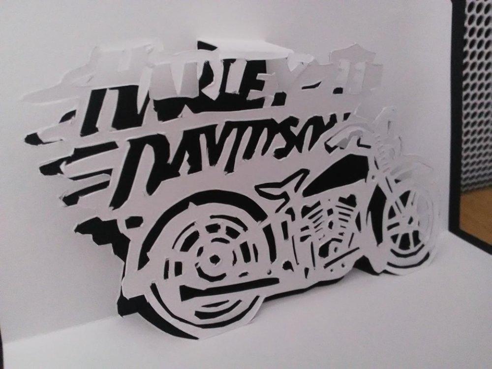 Carte Harley Davidson Moto en 3D kirigami Pop Up Anniversaire