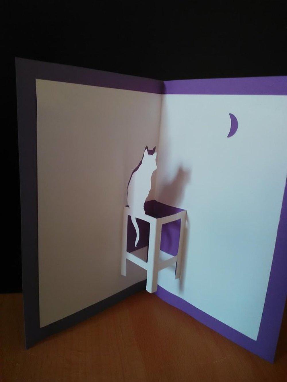 Carte en 3D kirigami Pop Up Silhouette chat lune Anniversaire