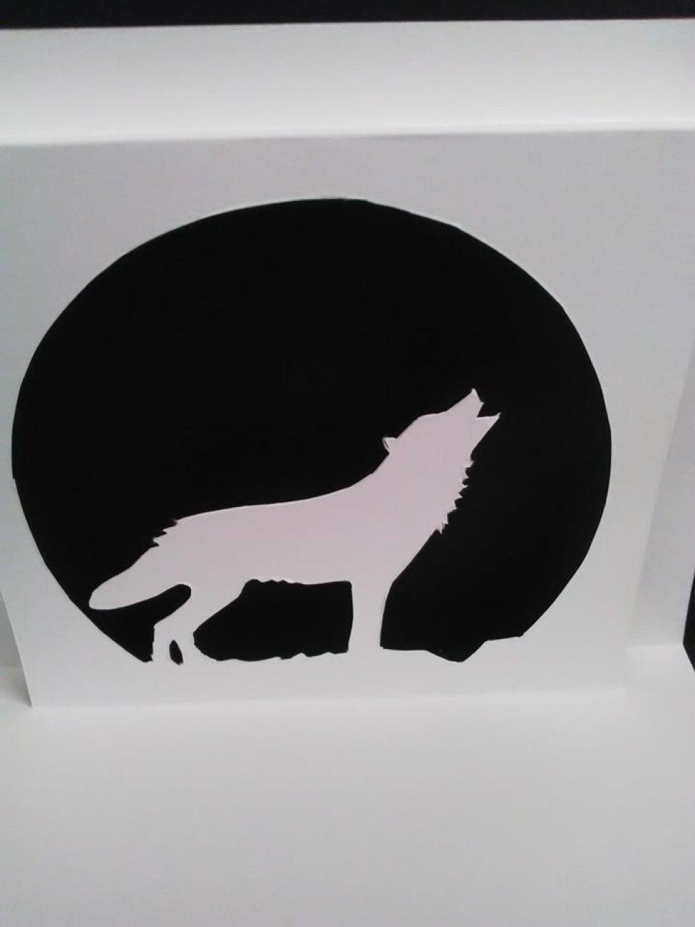 Carte en 3D kirigami Pop Up Silhouette Loup anniversaire