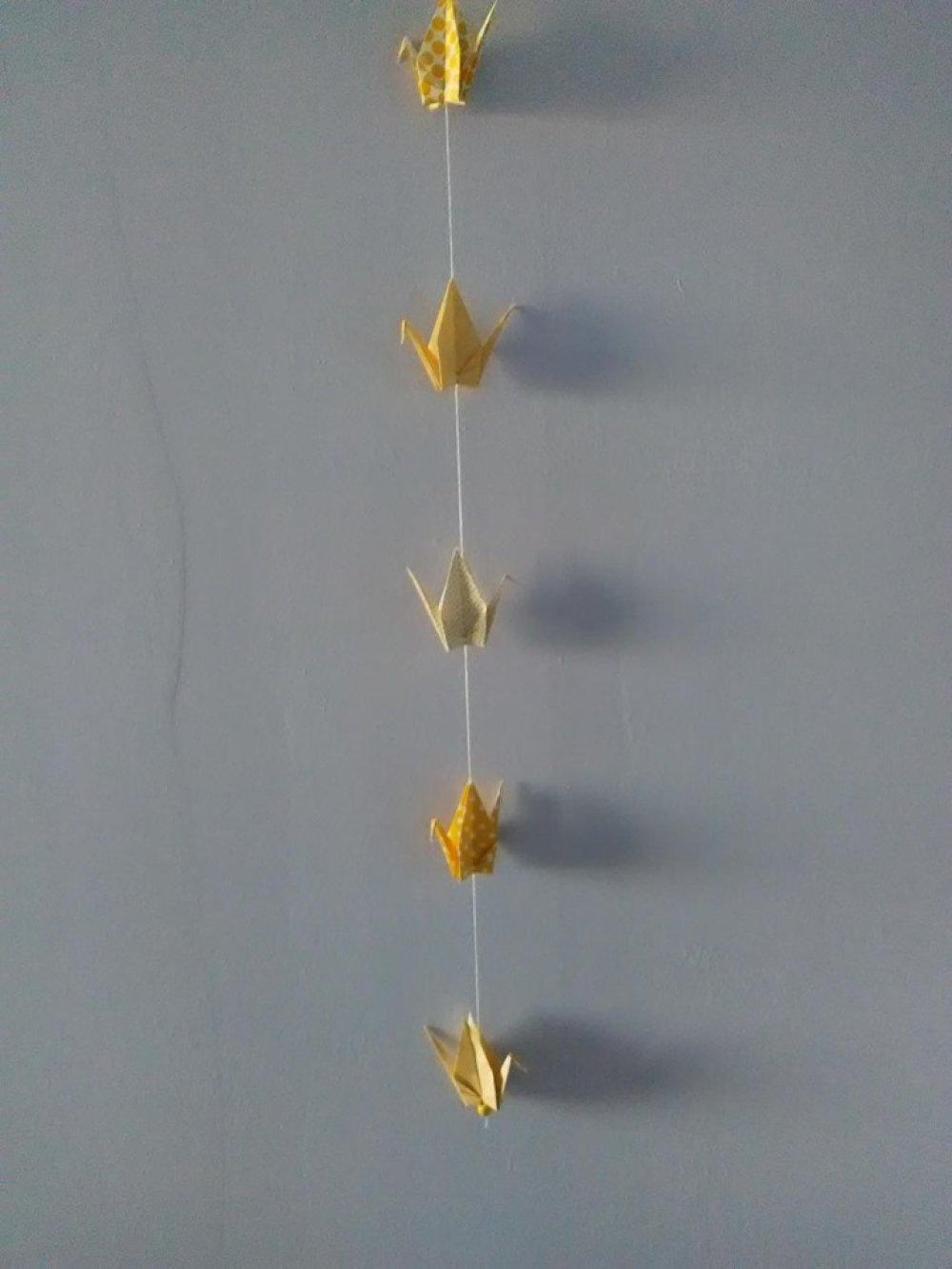 Guirlande grues origami, déco chambre d'enfant, idée cadeau naissance