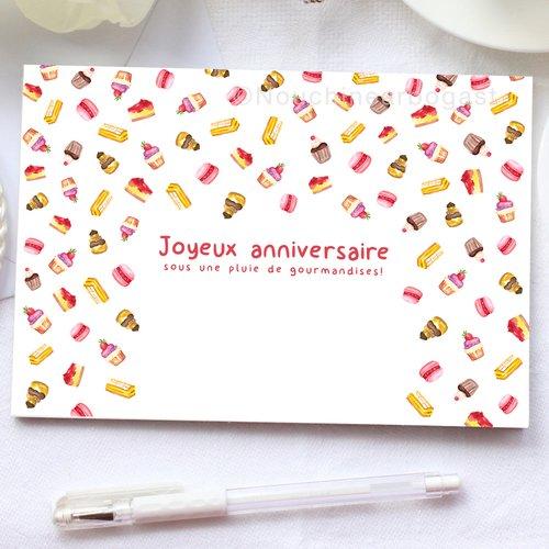 Carte postale, anniversaire, aquarelle, illustration, fête, cupcake, peinture, gourmandise, gâteau, rose, naissance