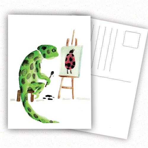 Carte postale, caméléon, illustration, humour, lezard, coccinelle, peinture, aquarelle, artiste