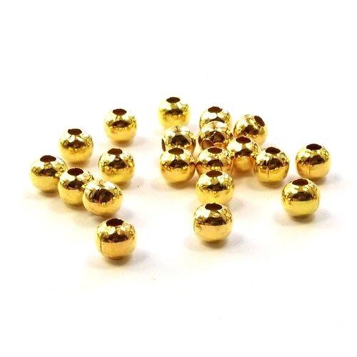 20 perles en métal doré rondes et lisses 5 mm