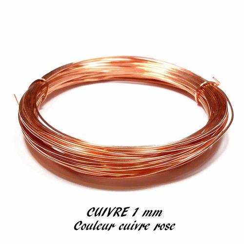Fil de cuivre 1 mm cuivre rose (10 mètres)