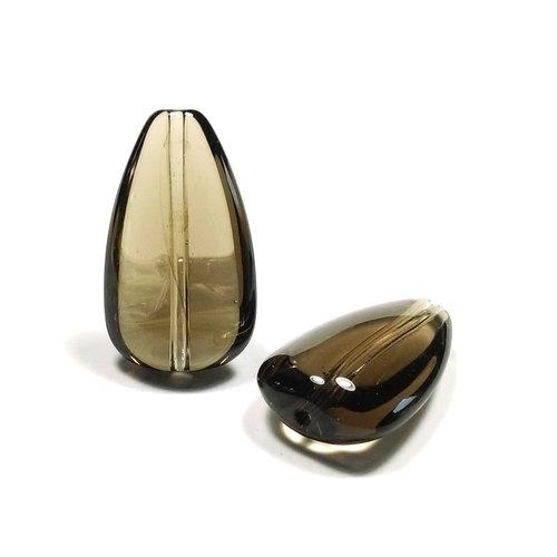 5 perles en verre goutte 24 mm x 15 mm fumé