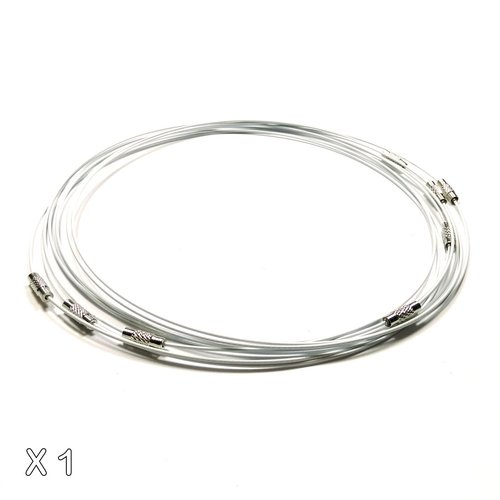 1 collier tour de cou fil câblé blanc 45 cm