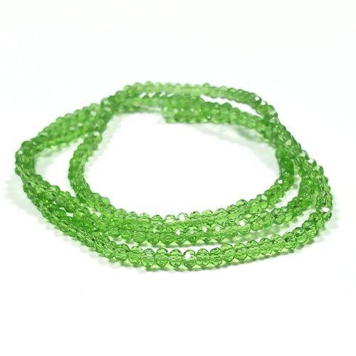 200 perles abaques a facettes 3 x 2 mm vert