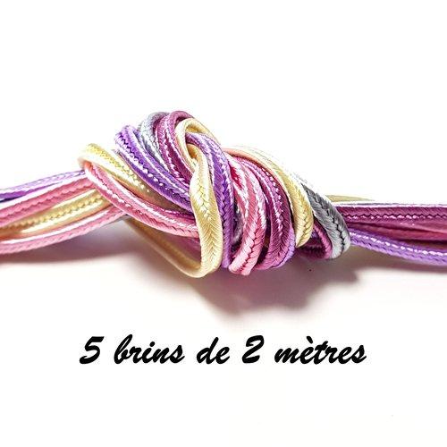 10 mètres de soutache 3 mm - 5 brins de 2 mètres rose pale bleu pale mauve vieux rose écru