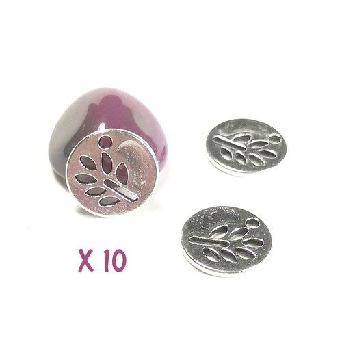 10 sequins ronds feuille ajouré en métal argent vieilli 12 mm