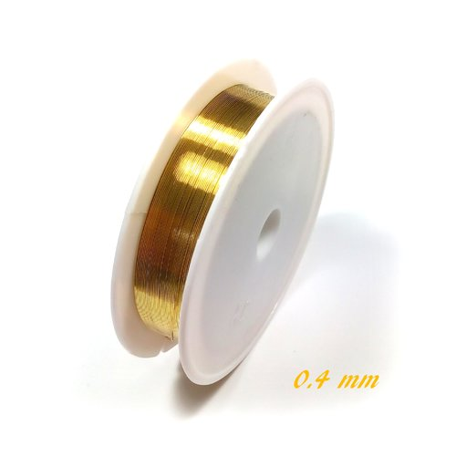Fil de cuivre 0.4 mm or (bobine de 10 mètres)