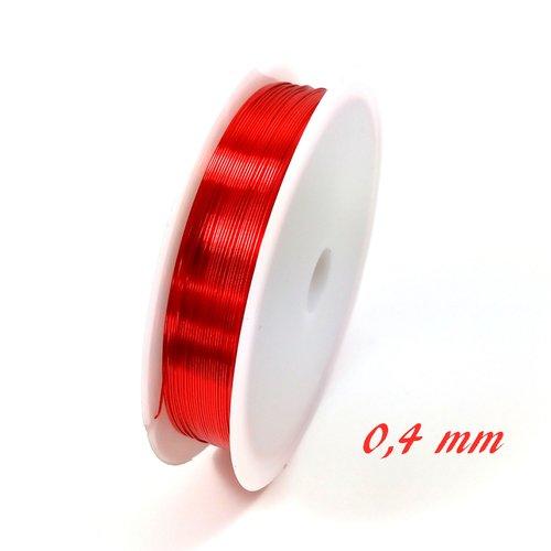 Fil de cuivre 0.4 mm rouge (bobine de 10 mètres)