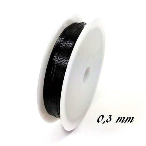 Fil de cuivre 0.3 mm noir (bobine de 20 mètres)
