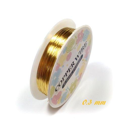Fil de cuivre 0.3 mm or (bobine de 25 mètres)