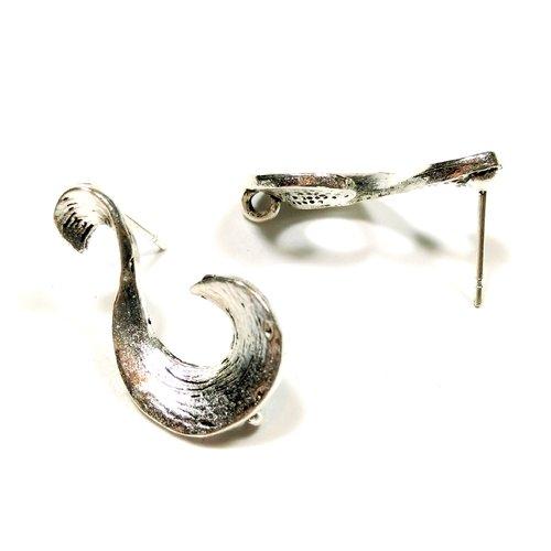 10 clous d'oreilles fantaisie volute 22 mm argent vieilli