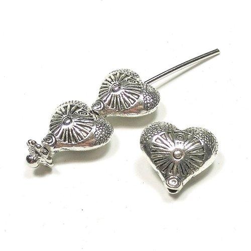 5 perles coeur en métal argenté 14 x 12 mm