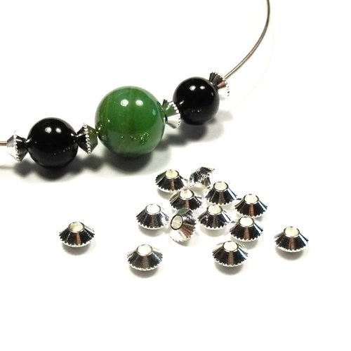 50 perles soucoupes en laiton argenté 4 mm