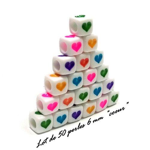50 perles cube coeur 6 x 6 mm coeurs colorés