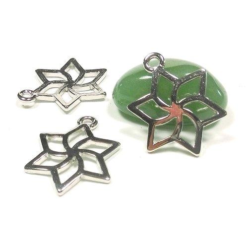 10 pendentifs étoile ajourée en métal argent gris 22 mm