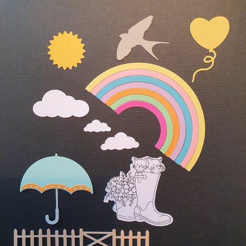 Découpes de papiers parapluie et nuages
