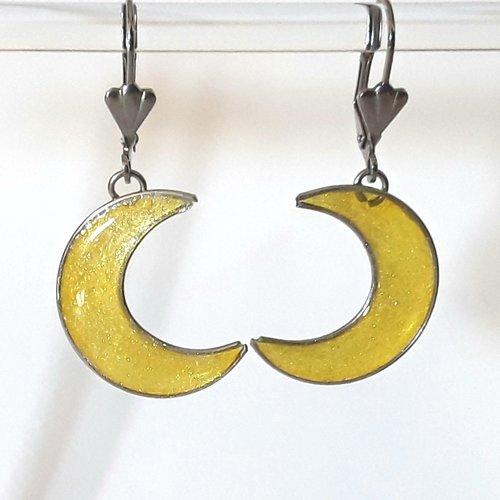 Boucles d'oreilles lune jaune