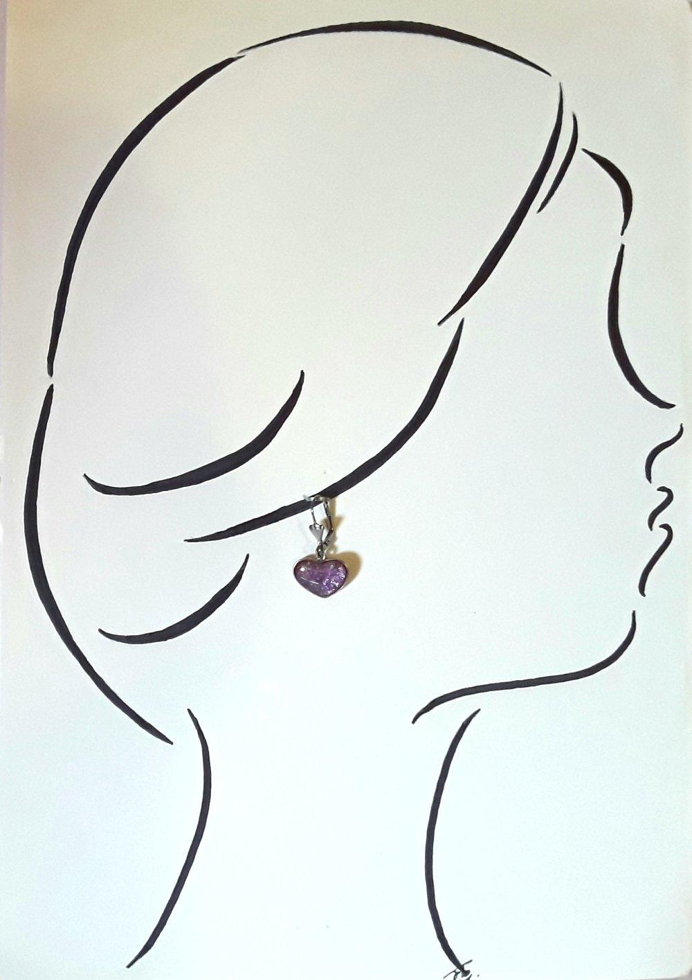 Boucles d'oreilles coeur fuschia