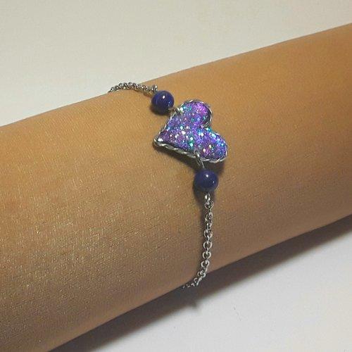 Bracelet coeur bleu sur chaine