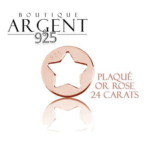 Breloque étoile ajourée en argent massif 925 plaqué or rose apprêt rond cercle étoile