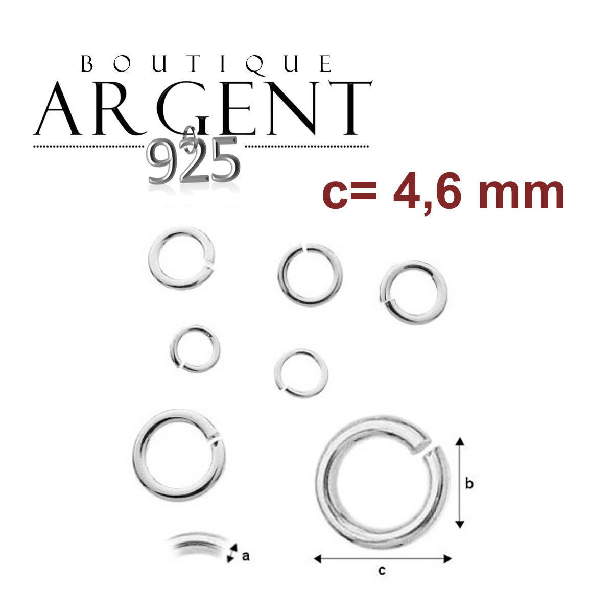 X10 anneaux ouverts en argent massif 925/1000 de dimensions 0,8 X 3 X 4,6 mm