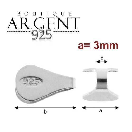 bijou - ARGENT 925 Sterling Accroche // Support pour pierre lot de 2 13 X 5 mm pendentif B/éli/ères cristal