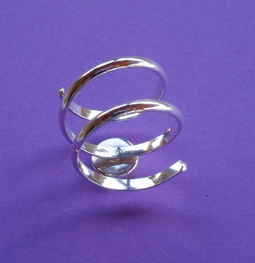 Support de bague en argent massif .925, spirale réglable à coupelle ronde 8 mm