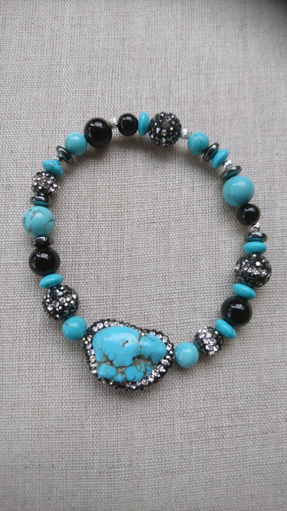 Bracelet turquoise bleue et obsidienne