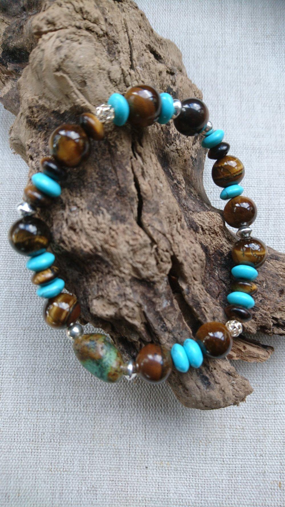 Bracelet Turquoise africaine et oeil de tigre