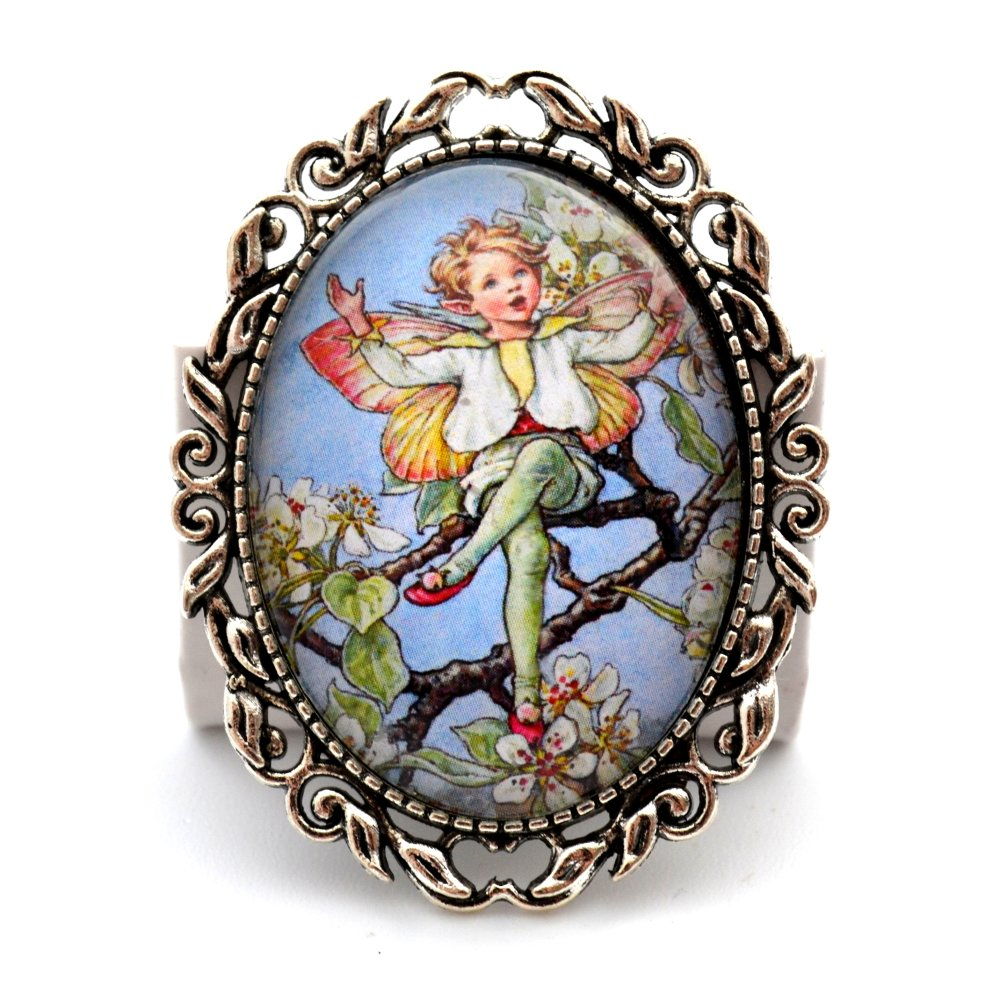 Broche épingle dôme de verre * Lutin fleurs d'églantiers *